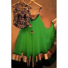 Bollywood Replica - Designer Net Green Lehenga Choli - EBSFLC234002B
