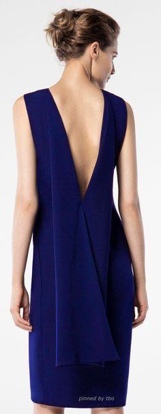 Carolina Herrera 2016 blue dress women fashion outfit clothing style apparel @roressclothes closet ideas