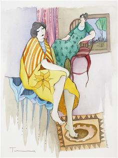 Tarkay, Itzchak In Good Company 2005 14 5/8'' x 11 1/8'' Mixed media with watercolor on wove paper. Signed in ink lower left. A unique work.