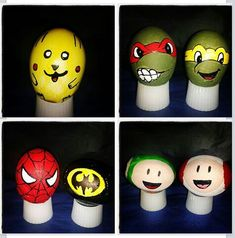Easter eggs huevos de pascua pintados a mano pikachu ninja turtles spiderman batman honguito mushroom
