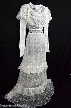 Vintage 70s Crochet Lace Maxi Dress Wedding Victorian 60s Hippie Boho Supermodel   eBay