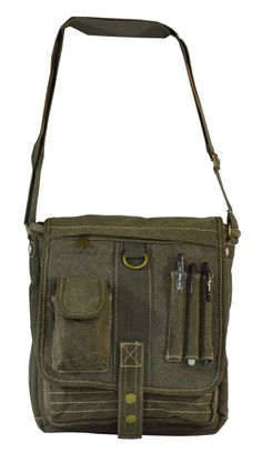 Green  Multipocket  Organizer  Crossbody Canvas Bag Womens Messenger Bag 909dad12eda1f