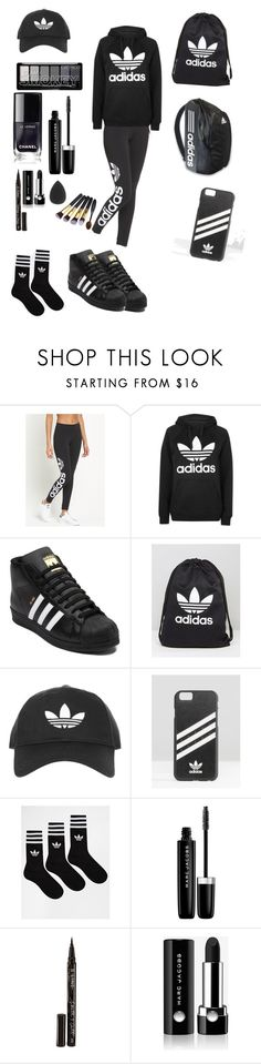 """""""when u go full adidas mode 😂"""" by msunicornanna ❤ liked on Polyvore featuring adidas Originals, Topshop, adidas, Marc Jacobs and Smith & Cult"""