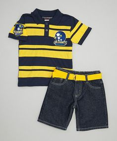 Another great find on #zulily! Yellow Stripe Polo & Belted Denim Shorts - Toddler & Boys #zulilyfinds