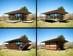 casa de cristal con cerramiento total, de madera.