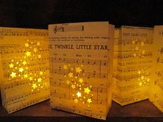 10 Twinkle Twinkle Little Star Luminarias, Star Wedding, Star Party, Completely Hand Fashioned from Vintage Sheet Music, Star Decor by Oldendesigns on Etsy https://www.etsy.com/listing/109271446/10-twinkle-twinkle-little-star