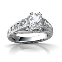 White Topaz Antique Style 14K White Gold Ring R2028 - front view