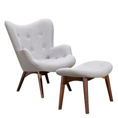 Grant Featherston Style R160 Contour Lounge Chair Glacier White / Walnut, EMFURN - 126
