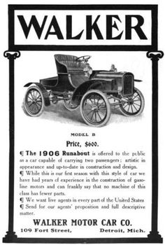 "The 1906 Roadster or Runabout Model B, priced at US$600 (originally priced at US$550), was the only vehicle the company built. It had room for two passengers and was described as ""artistic in appearance"" in an advertisement in a national trade magazine. The company noted that ""while this is our first season with this style of car, we have had years of experience in the construction of gasoline motors and can frankly say that no machine of this class has fewer parts."