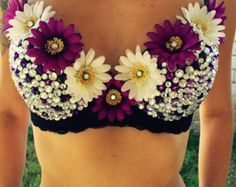 Purple Daisy Rave Bra by KennysKandiCreations on Etsy
