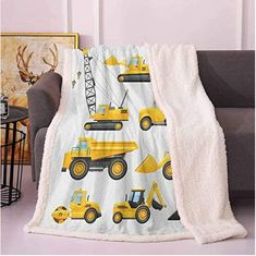 Boys Twin Blanket Abstract Images of Construction Vehicles and Machinery Trucks Bulldozer Crane Throws and Blankets for Sofa Earth Yellow Black Organic Baby Clothes, Unisex Baby Clothes, Winnie The Pooh Blanket, Fireside Chats, Newborn Tieback, Blanket Sizes, Abstract Images, Boho Baby, Newborn Gifts