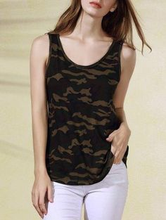 #Zaful - #Zaful Scoop Neck Military Uniform Style Tank Top - AdoreWe.com