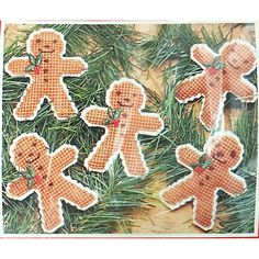 Gingerbread Men Christmas Ornaments Plastic Canvas Kit Mary Maxim 37083 c2219