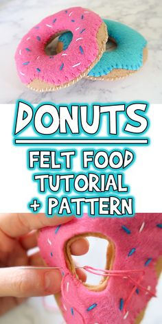 Today I'm starting a new series all about felt food! For our first project, I'm showing you how to make these super cute felt food donuts!No Sew Felt Crafts - Expert Interview.Making felt craft projects with toddlers - quick and fun projects.nside of the Felt Crafts Patterns, Felt Crafts Diy, Felt Diy, Handmade Felt, Sewing Crafts, Sewing Art, Fun Crafts, Hand Sewing, Paper Crafts