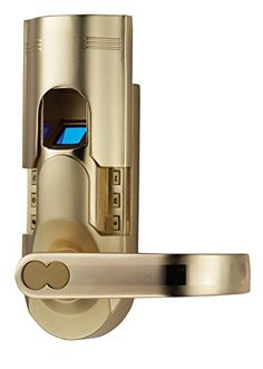 Assa Abloy Digi Electronic Biometric Fingerprint + Keypad Password Door Lock Set 86 Intersected Gold: Perfect for using Airbnb and securing your property if you are away. Security Technology, Computer Security, Lock Set, Home Upgrades, Access Control, Safety And Security, Home Hardware, Door Locks, Cool Gadgets