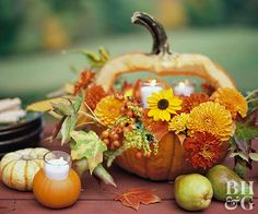 A twist on the expected makes for an eye-catching Thanksgiving centerpiece. Try something different with a pumpkin by carving it into a handled basket. Fit a bowl inside to hold oasis and a variety of fall flowers and leaves. Tealights finish the look and add ambiance.
