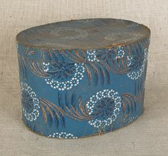 """Wallpaper hat box, 19th c., with floral decoration on a blue ground, 10"""" h., 16"""" w."""