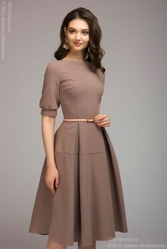 Купить платье кофейного цвета длины миди с короткими рукавами 1001 DRESS Modest Dresses, Modest Outfits, Elegant Dresses, Pretty Dresses, Dresses For Work, Dresses With Sleeves, Dress Outfits, Formal Dresses, Dress For Girl Child