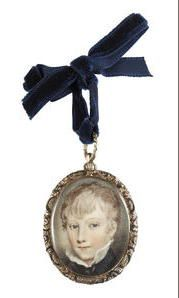 Continental School, circa 1810 Portrait miniature portraying a Young Boy, wearing dark blue jacket, white chemise and black ribbon necktie; gilt-metal chased fausse-montre frame. Oval, 38mm (1 1/2in) high