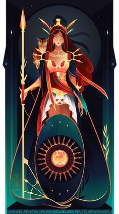 Hathor ~ Egyptian Gods by Yliade on DeviantArt Athena ~ Greek Gods by Yliade Hathor ~ Egyptian Gods by Yliade on DeviantArt Greek Mythology Gods, Greek Gods And Goddesses, Roman Mythology, Egyptian Mythology, Egyptian Goddess, Fantasy Kunst, Fantasy Art, Illustration Art, Illustrations