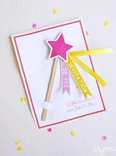 Voici une jolie carte d'invitation pour un anniversaire fée à imprimer et à fabriquer très simplement ! Avec cette invitation, les petits invités sont gâtés avant même d'être à la fête, car la petite baguette magique s'enlève ! Et vous avez toute la place au dos pour écrire les infos pratiques.