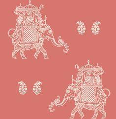NuWallpaper Caravan Coral Elephant Peel and Stick Wallpaper