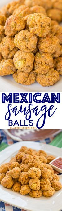 Mexican Sausage Balls - our favorite sausage balls kicked up with taco seasoning and green chiles. Can make ahead of time and freeze unbaked for a quick snack later. Serve with some salsa or a mixture of salsa and ranch. SO GOOD!!! These things fly off th