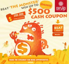 It's great, beat the Monster to win cash coupon. Come on, xoxo!