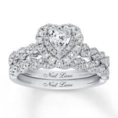 Goodness this is gorgeous♡♡♡ Neil Lane Diamond Bridal Set ct tw White Gold - 940350100 - Kay Heart Shaped Diamond Ring, Heart Shaped Engagement Rings, Heart Wedding Rings, Round Halo Engagement Rings, Beautiful Engagement Rings, Vintage Engagement Rings, Diamond Rings, Heart Rings, Wedding Bands