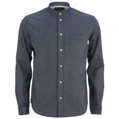 Paul Smith Jeans Men's Grandad Collar Shirt - Navy (245 AUD) ❤ liked on Polyvore featuring men's fashion, men's clothing, men's shirts and navy