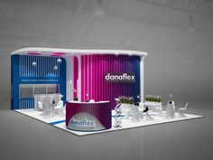 Exhibition stand Danaflex GXgroup on Behance Exhibition Stall, Exhibition Stand Design, Kiosk Design, Booth Design, Page Design, 3d Design, Trade Show, Decoration, Architecture Design
