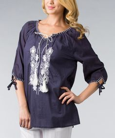 Take a look at the Dalin Navy & White Tie-Neck Embroidered Top - Women & Plus on #zulily today!