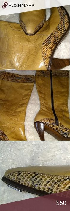 Beautiful Diva Boots EUC leather sole, snake and alligator design, wood heel. A few blemishes, see photos please! ☺️ Diva Shoes Heeled Boots