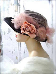 Metallic Cloche Hat Vintage Purple Ombre Silk / Peachy Pink Millinery Flower Tulle Netting / Wedding Shabby Cottage Prop 1930's Accessories by SueEllensFlair on Etsy