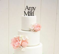 6 Custom First Names Monogram Wedding Cake by ThePinkOwlGifts, $32.00
