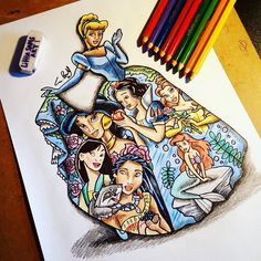 "531 Likes, 14 Comments - Little Sams Art (@littlesamsart) on Instagram: ""Every girls fantasy ✏ #LITTLESAMSART #disneydrawing #disneyprincess #fineart #art #sketch…"""