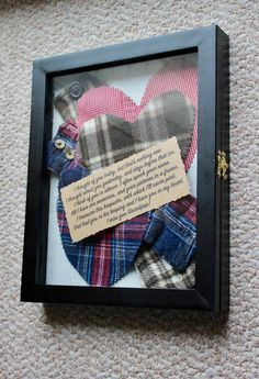 Keepsake crafts - Memory Shadow Box made from loved one clothe Collage Etsy Keepsake Crafts, Memory Crafts, Craft Gifts, Diy Gifts, Decoration St Valentin, Memory Pillows, Memory Quilts, Memory Pillow From Shirt, Craft Projects