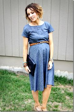 Chambray dress maternity style for Spring and Summer - love the tan belt cinched above bump for definition