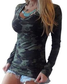 Fashion camouflage t shirt v neck style for women