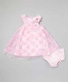 Pink Pastel Rose Dress & Diaper Cover - Infant
