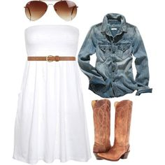 """""""white dress w/ cowgirl boots and jean   jacket"""" by bellalee2000 on Polyvore"""