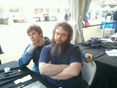 #TFOB fan posing with author Rothfuss who writes in the Fantasy genre.