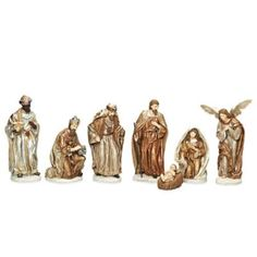 Roman 7-Piece Gold Finish Nativity Set - BedBathandBeyond.com