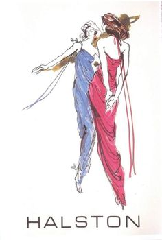 Halston advertisement illustrated by Kenneth Paul Block.