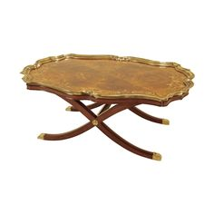 Charleston Mahogany Finished Cocktail Table with Marquetry, Brass Gallery and Accents
