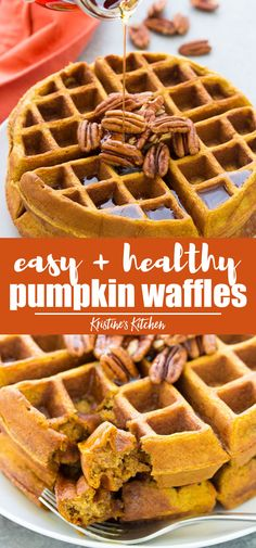 Healthy pumpkin waffles from scratch are so easy to make in just one bowl! This recipe for homemade whole wheat pumpkin waffles is the best cozy fall breakfast! #pumpkin #pumpkinrecipes #waffles