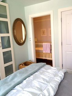 Crib nook! Small Space Nursery.     make room for baby: crib nook  - (cool) progeny
