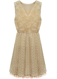 Apricot V Neck Sleeveless Embroidery Lace Dress