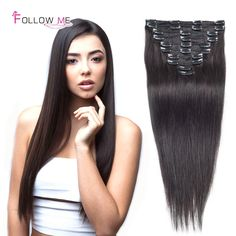 96.34$  Watch here - http://aliy63.worldwells.pw/go.php?t=32746844995 - Straight Clip In Human Hair Extensions 18inch 100gram Brazilian Virgin Human Hair Clip In Extensions Follow Me Hair Extensions 96.34$