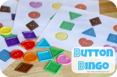 School Time Snippets: Button Bingo: A Color Shape Activity for Tots Preschoolers. This would be a quick and easy game to whip up. Preschool Centers, Preschool Learning, Toddler Preschool, Educational Activities, Fun Learning, Toddler Activities, Learning Activities, Preschool Activities, Shape Activities